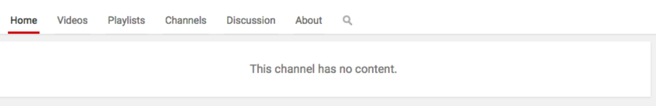 this channel has no content message on YouTube due to a missing channel intro video