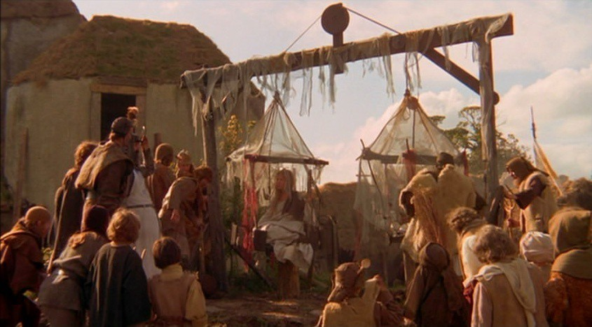 a scene from the Tale of Sir Bedevere from Monty Python and the Holy Grail
