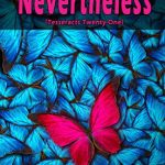 A pink butterfly nestles within a crowd of blue butterflies on the cover of the pink-titled Nevertheless (Tesseracts Twenty-One) book